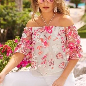 Alexia Admor Off The Shoulder Embroidered Floral L